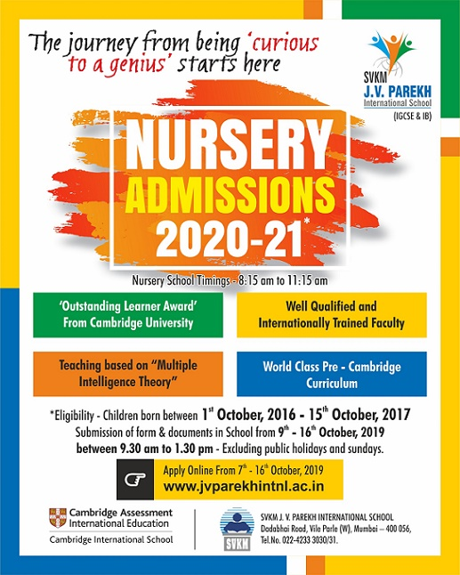 J.V.Parekh International School : Nursery Admission